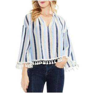 Vince Camuto striped peasant blouse with tassels